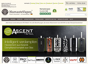 Screenshot NamasteVapes.co.uk